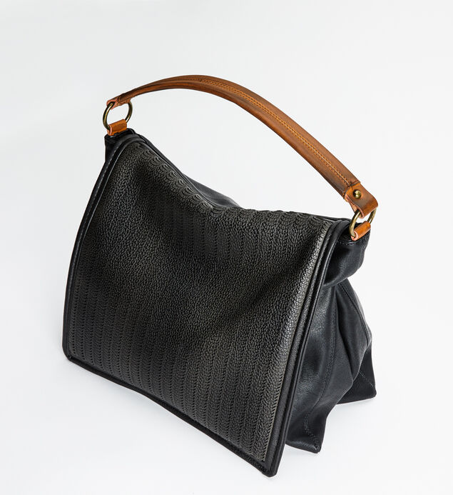 Perforated Two-Tone Hobo, , hi-res