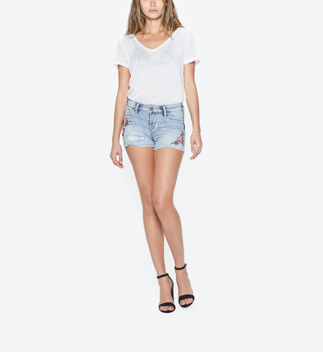 Aiko Embroidered Short Light Wash