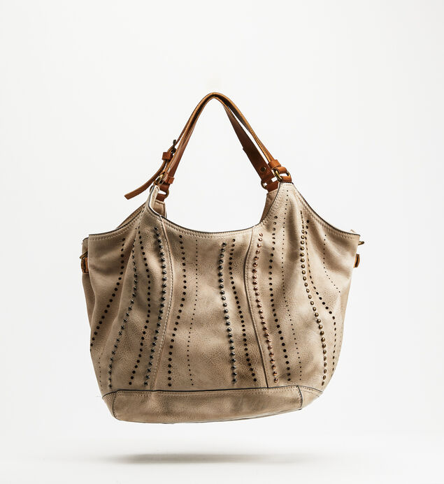 Top-Zip Studded Satchel, Beige, hi-res