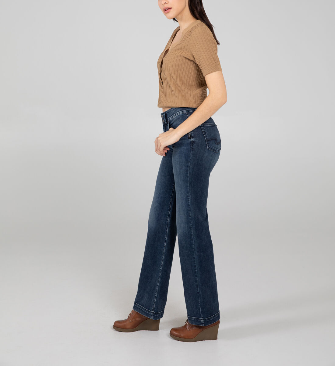 Avery High Rise Trouser Leg Jeans Side
