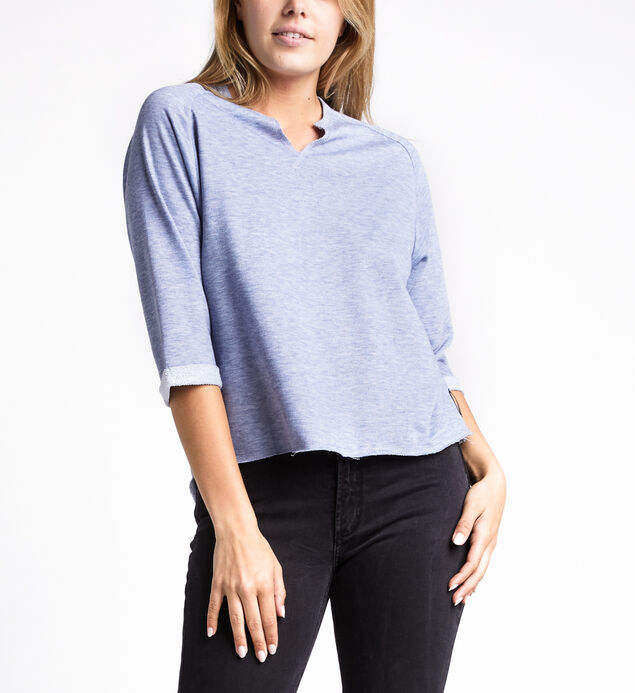 Amira Slit-Neck Three-Quarter Sweatshirt