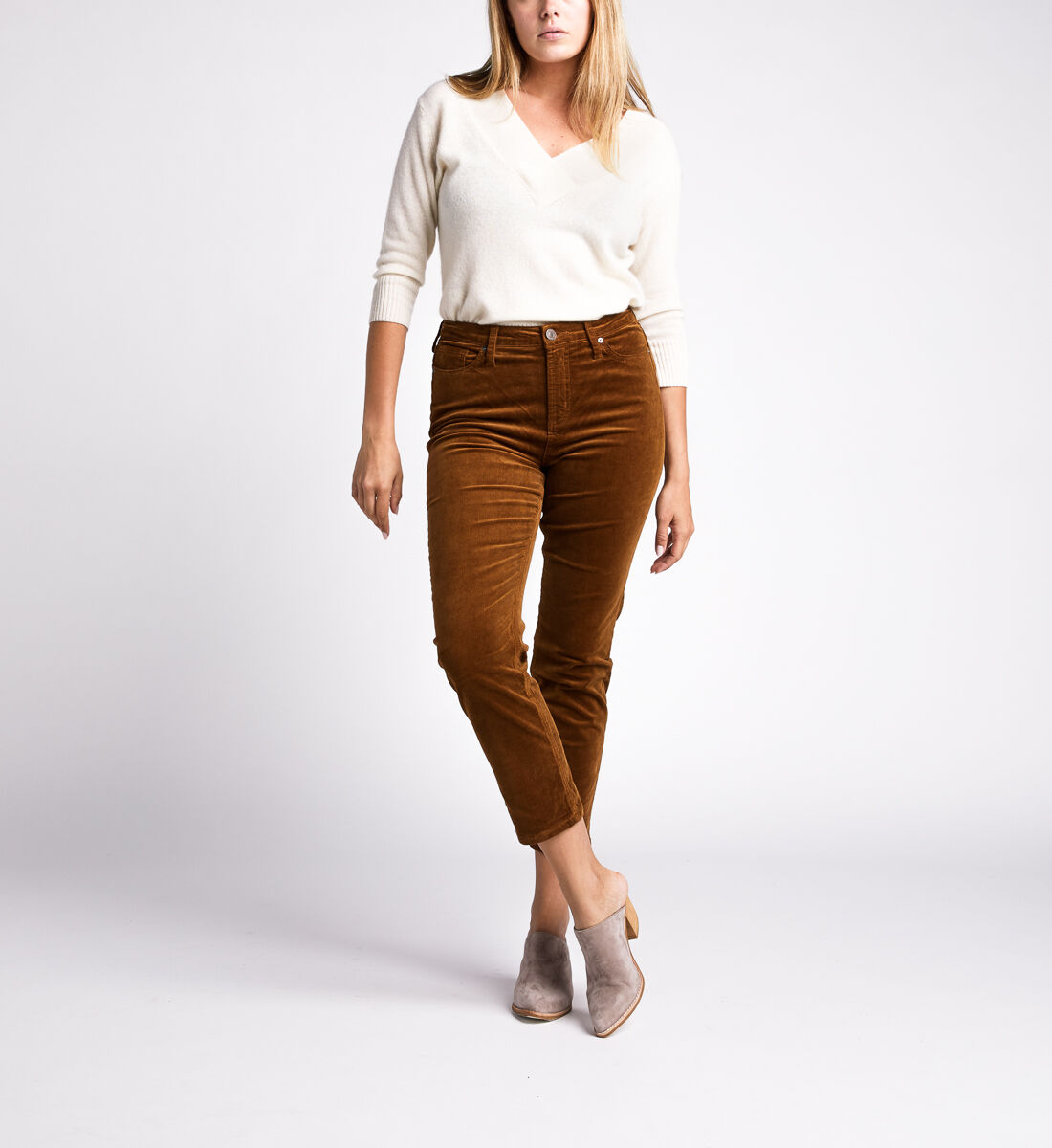High Note High Rise Slim Leg Pants,Caramel Front