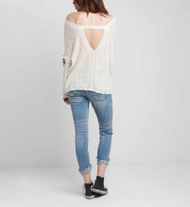 Slub Sweater With V Back, , hi-res