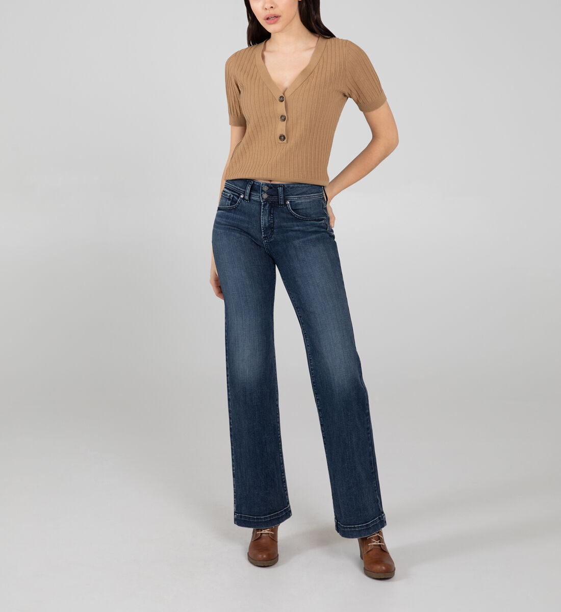 Avery High Rise Trouser Leg Jeans Front