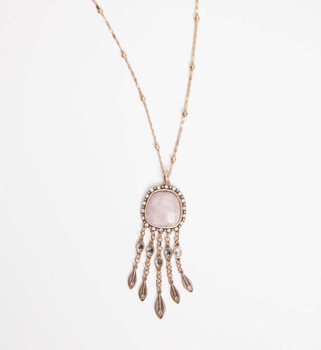 Gold-Tone and Rose Quartz Pendant Necklace, , hi-res