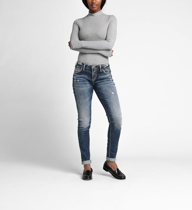 Girlfriend Mid Rise Skinny Leg Jeans