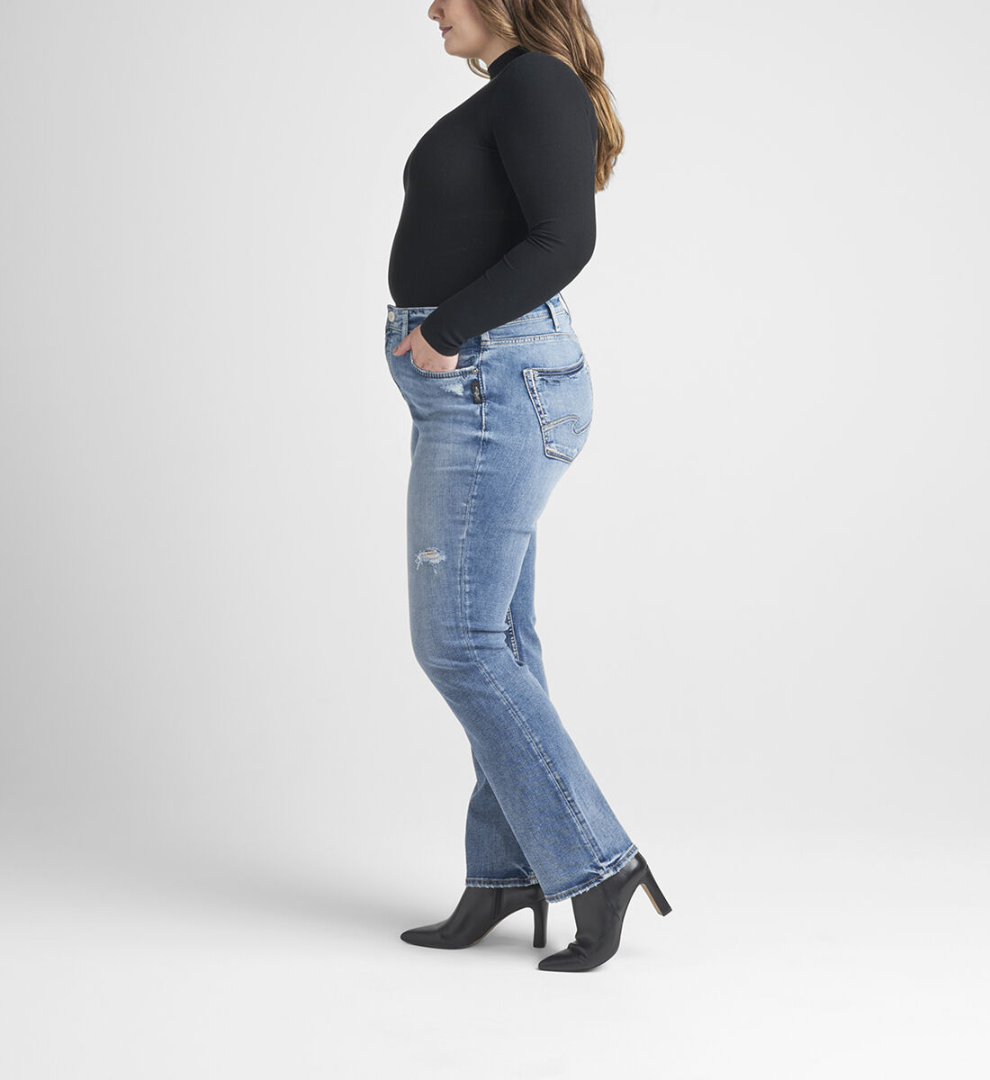 Avery High Rise Slim Bootcut Jeans Plus Size Side