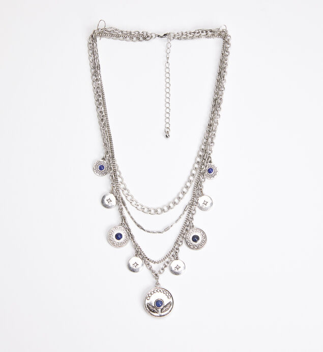 Silver-Tone and Blue Layered Pendant Necklace