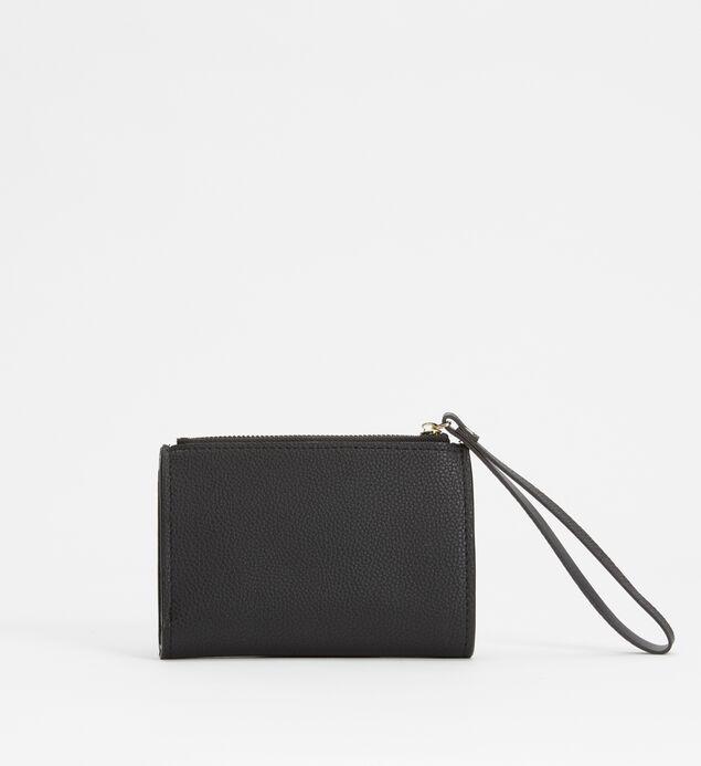 Small Flap Wristlet Wallet, Black, hi-res
