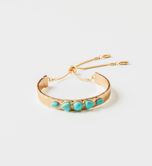 Gold-Tone Turquoise Bangle Bracelet