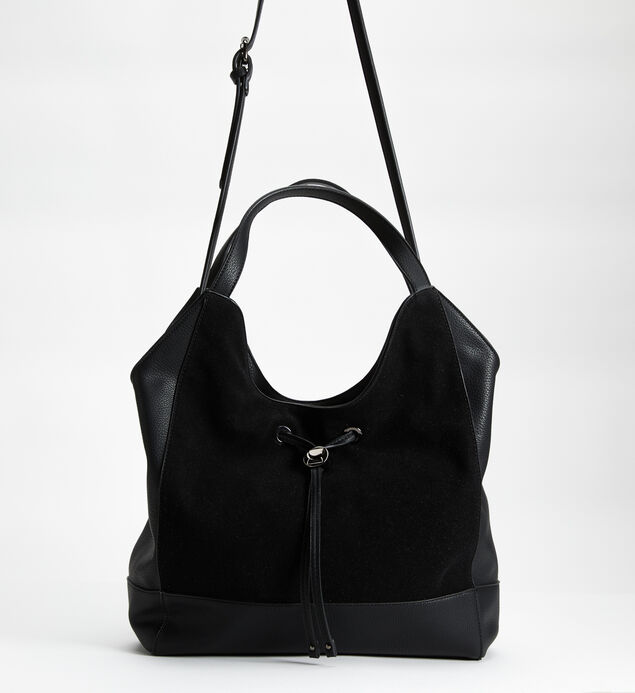 Mixed-Material Drawstring Hobo