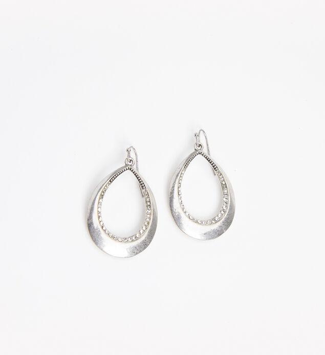 Silver-Tone Teardrop Statement Earrings, Silver, hi-res