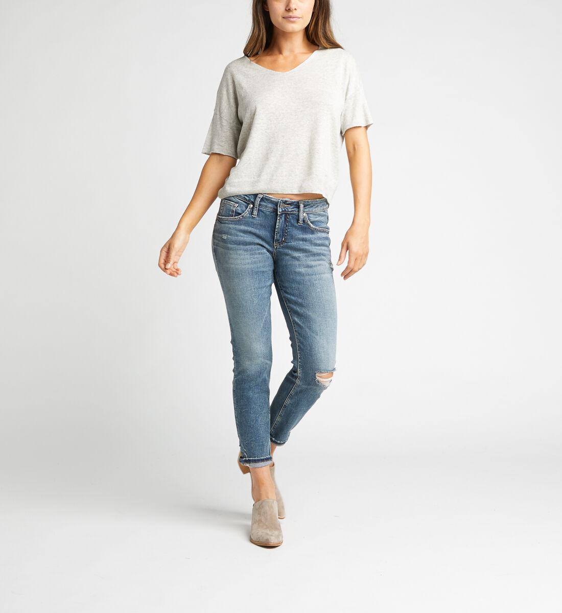 Boyfriend Mid Rise Slim Leg Jeans Alt Image 1