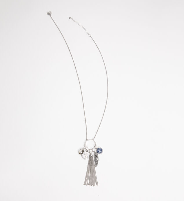 Silver-Tone and Blue Long Tassel Necklace