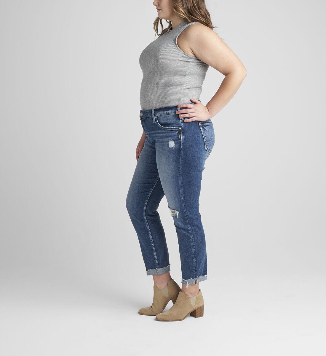 Boyfriend Mid Rise Slim Leg Jeans Plus Size Side