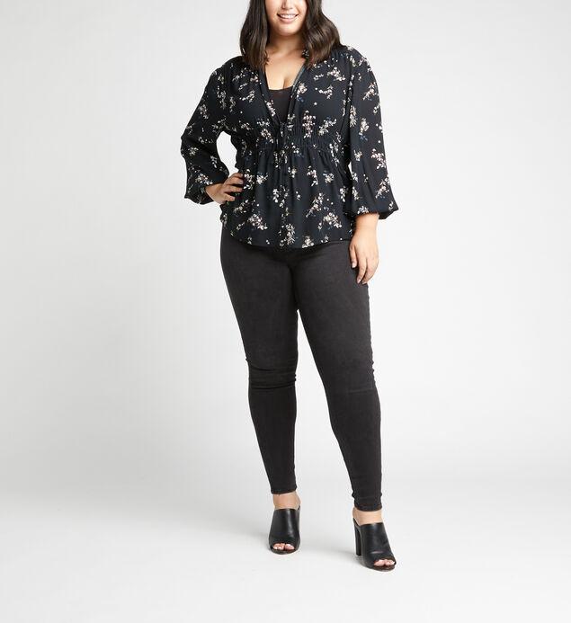 Seleste Cinch-Waist Floral Top Plus Size, Black, hi-res
