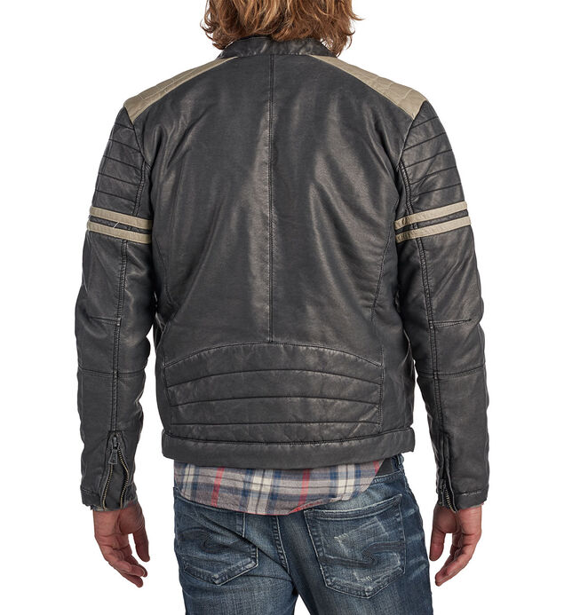 Bruno Faux-Leather Racing Jacket, , hi-res
