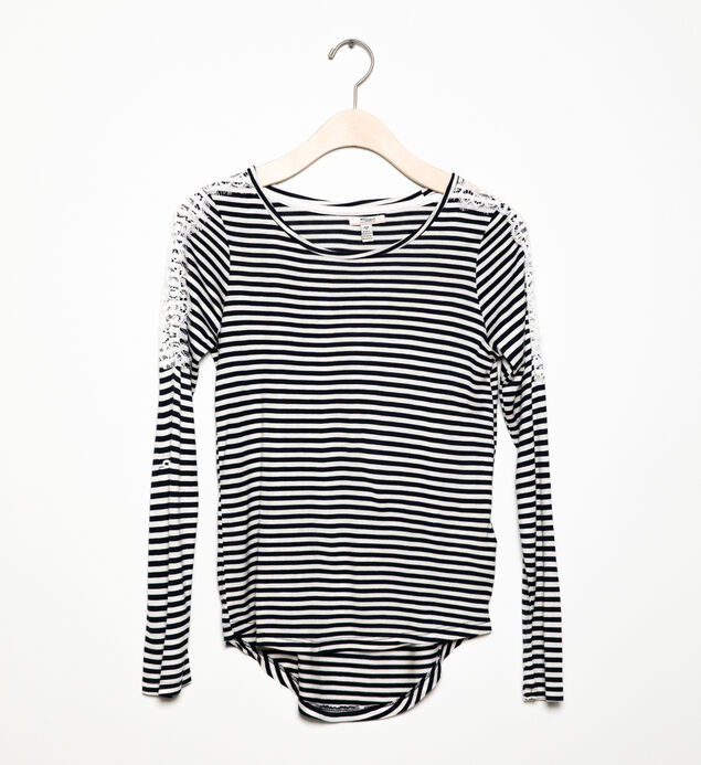 Long-Sleeve Striped Lace Top (7-16)