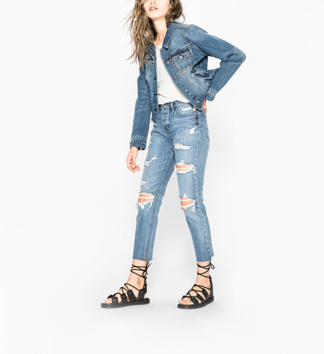 Shelby - Cropped Girlfriend Denim Jacket With Frayed Hem