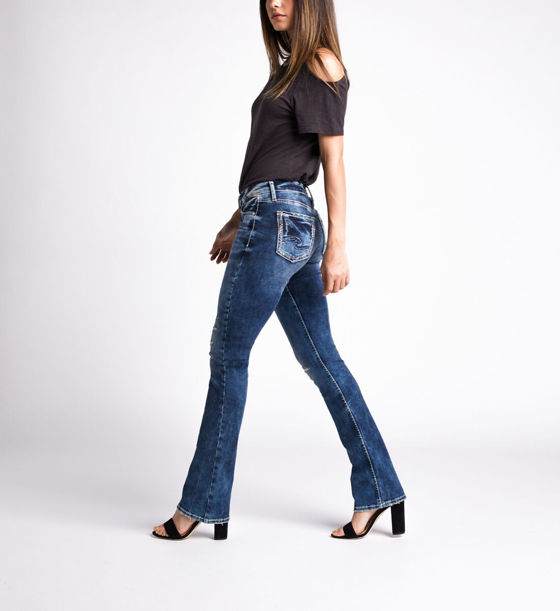 Avery High Rise Slim Bootcut Jeans,Indigo Side