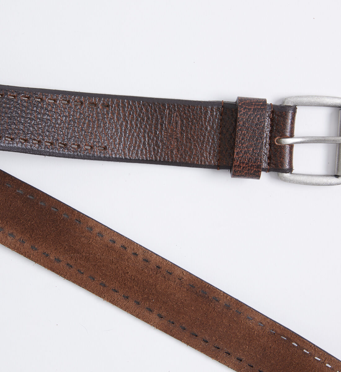 Pebbled Leather Mens Belt Side