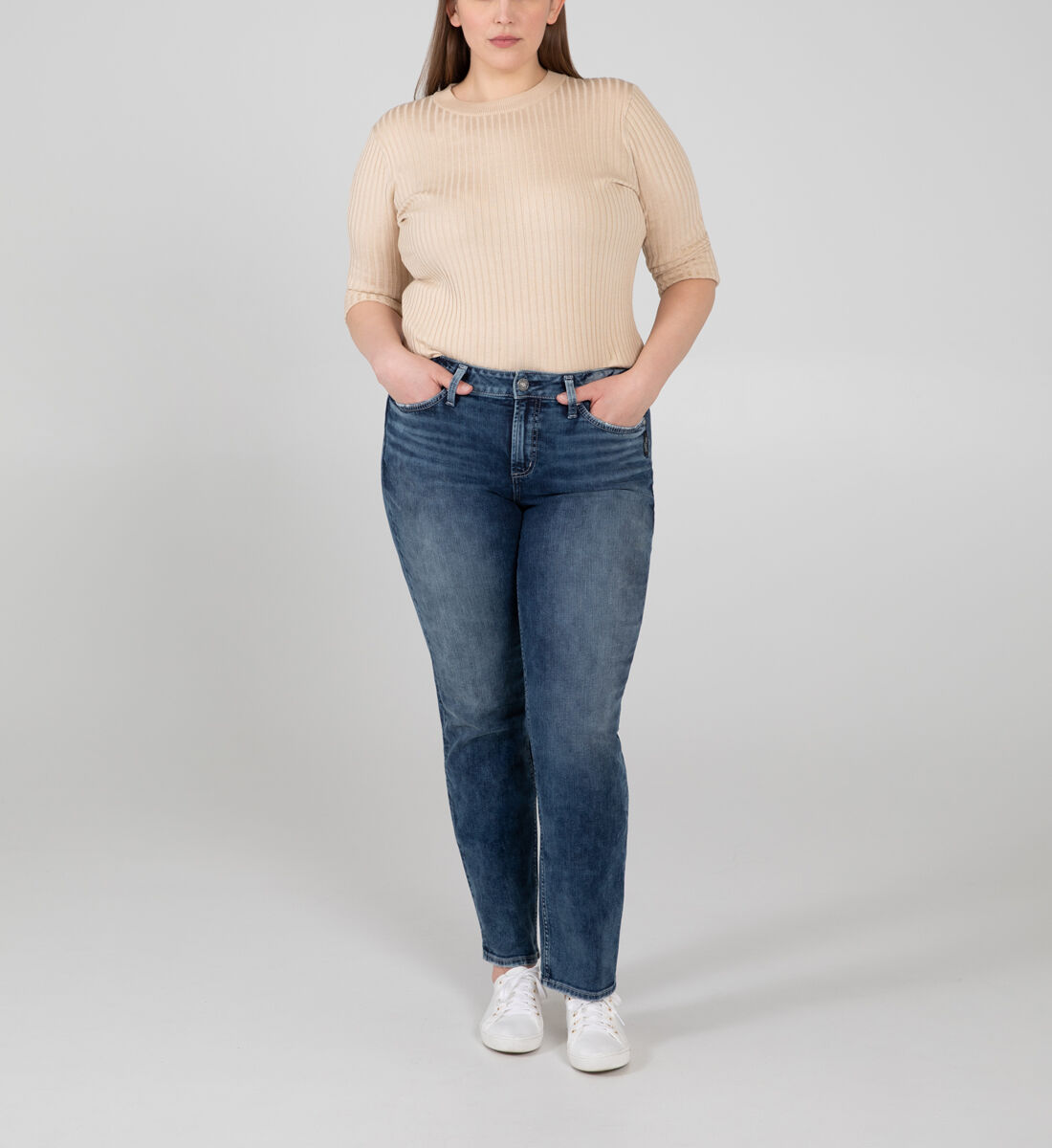 Avery High Rise Straight Leg Jeans Plus Size Front