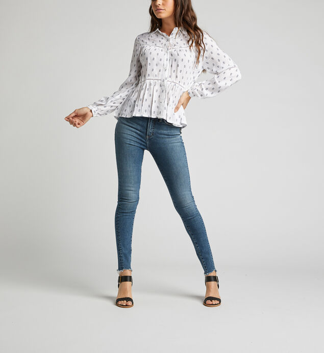 Scottie Lace Babydoll Shirt, Navy, hi-res