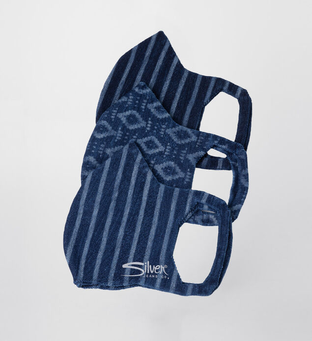 Printed Denim Protective Face Mask – Set of 3