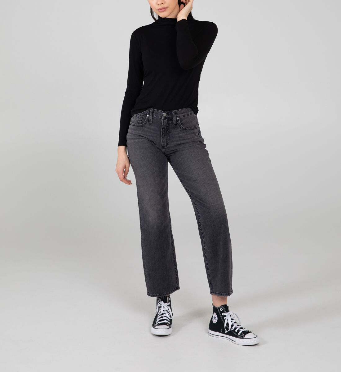 Frisco High Rise Straight Leg Jeans Front