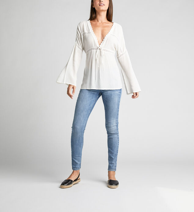 Sally Lace-Trim Peasant Blouse, Off White, hi-res