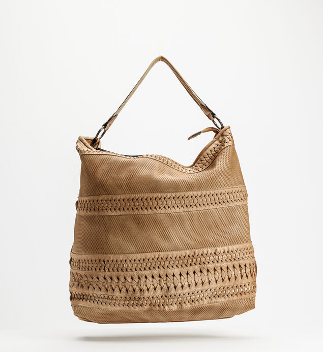 Top-Zip Braided Hobo, Camel, hi-res