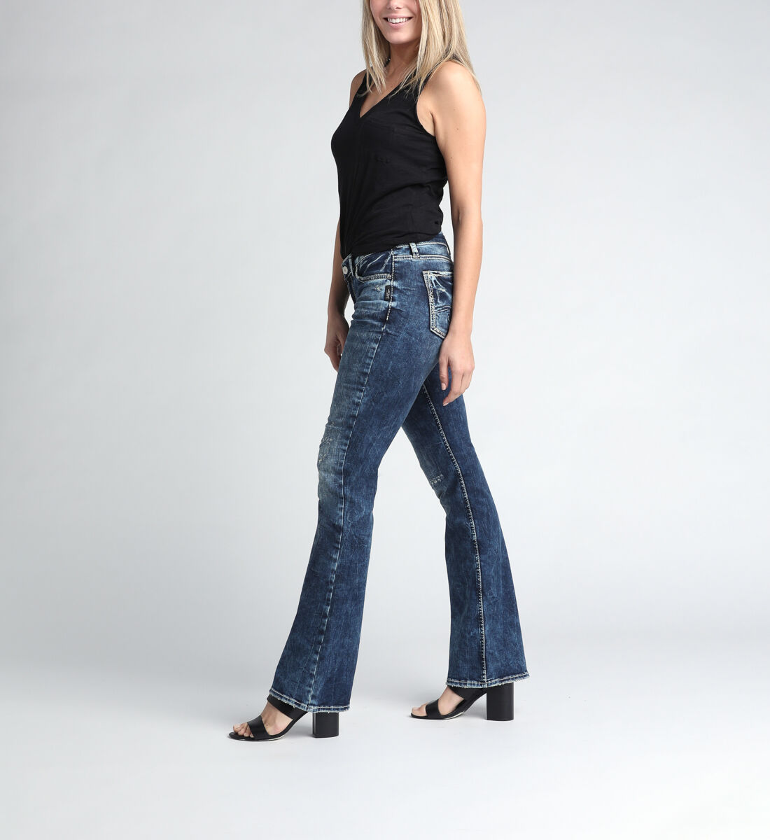 Elyse Mid Rise Bootcut Jeans Side