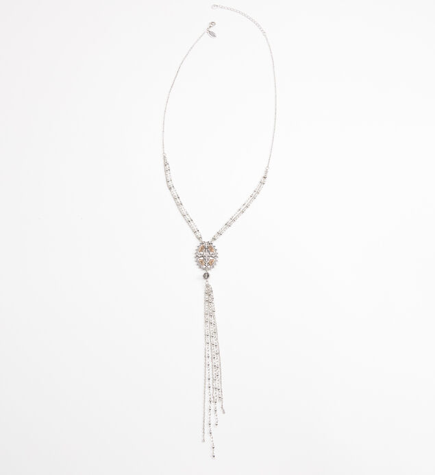 Silver-Tone Layered Y Pendant Necklace