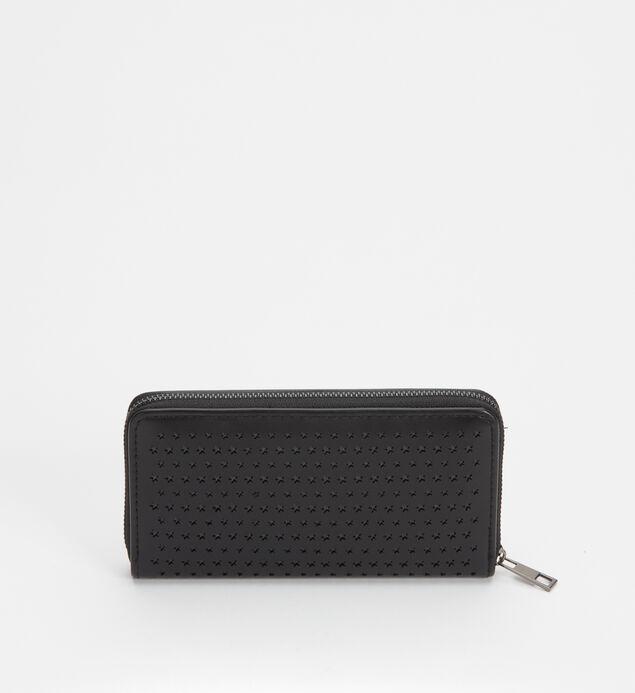 Zip-Around Laser-Cut Star Wallet, Black, hi-res