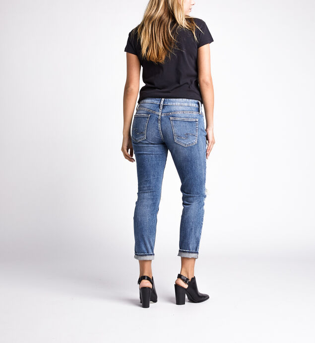 Boyfriend Mid Rise Slim Leg Jeans, Indigo, hi-res