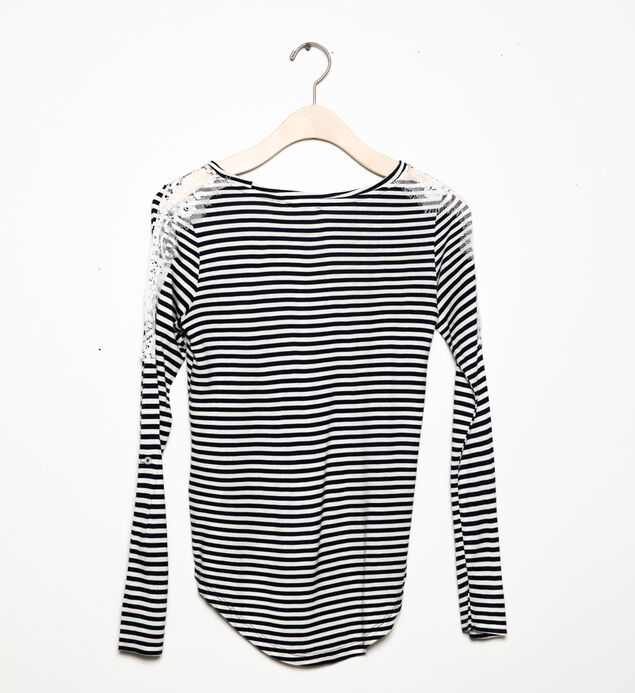 Long-Sleeve Striped Lace Top (7-16), , hi-res