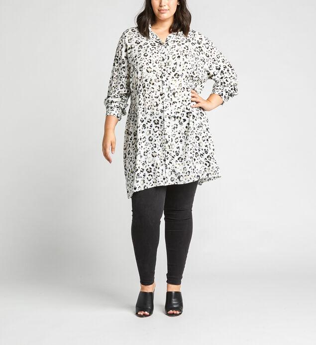 Saffi Leopard-Print Tunic Shirt, Off White, hi-res