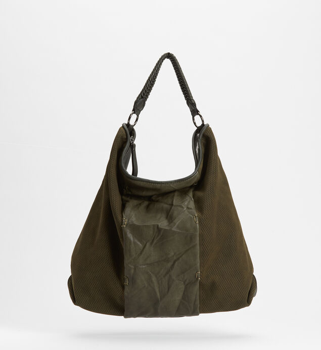Mixed-Material Hobo Bag