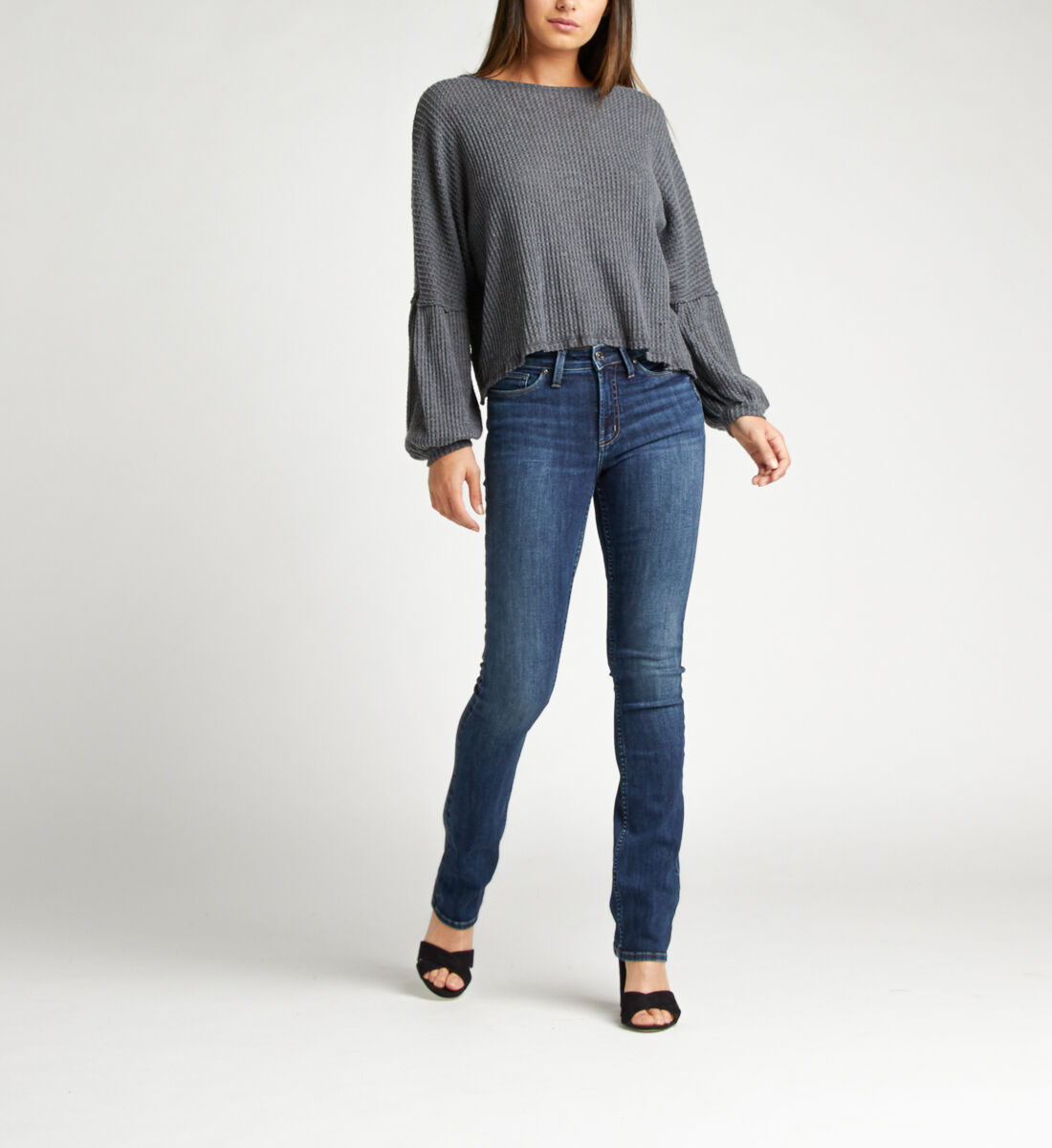 Most Wanted Mid Rise Skinny Bootcut Jeans Alt Image 1
