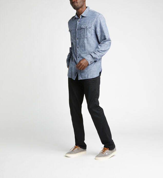 Caster Slub Chambray Button-Down Shirt, Blue, hi-res