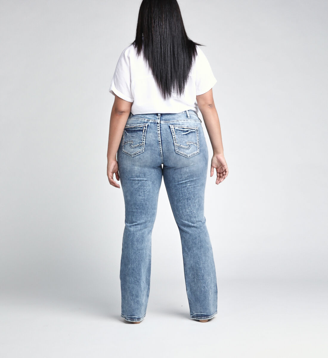 Elyse Mid Rise Slim Bootcut JeansPlus Size Back