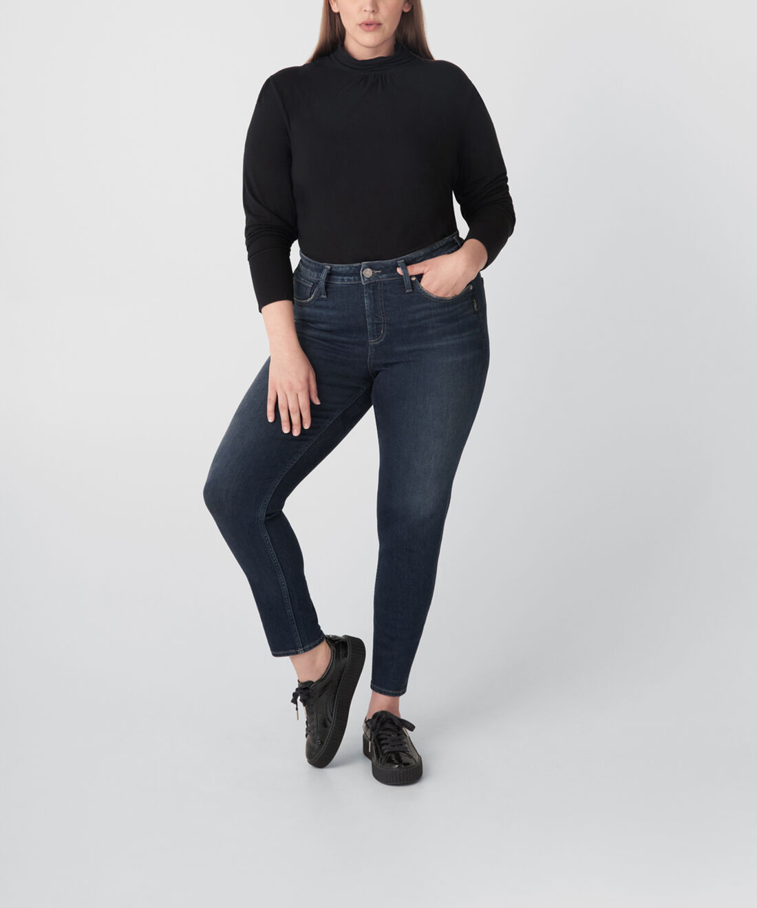 Avery High Rise Skinny Jeans Plus Size Front