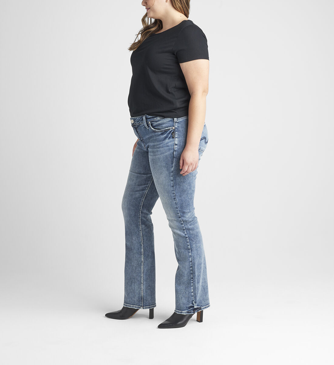 Elyse Mid Rise Slim Bootcut Jeans Plus Size Side