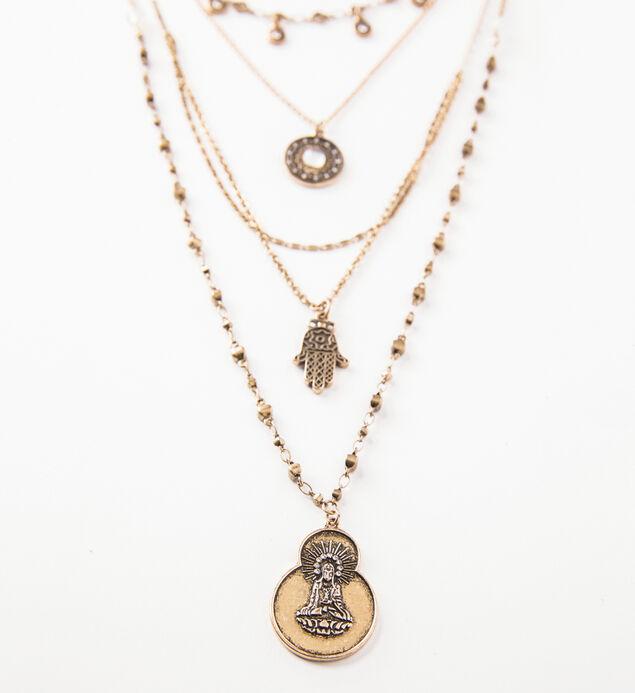 Gold-Tone Layered Hamsa Necklace, , hi-res