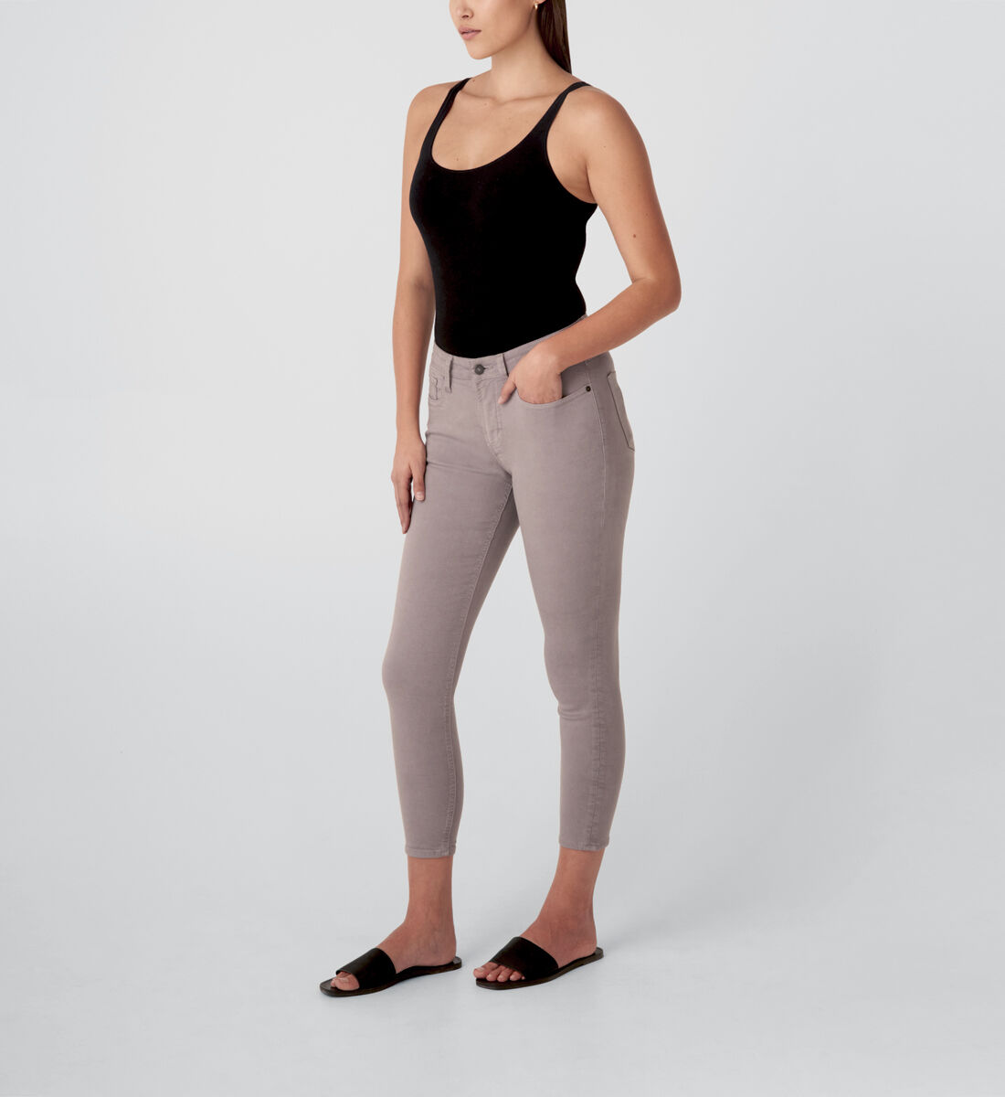 Most Wanted Mid Rise Skinny Jeans,Grey Side