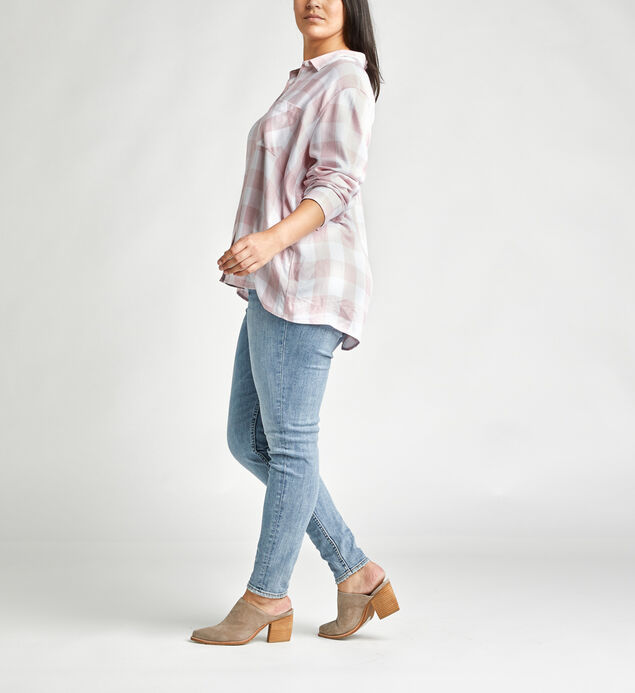 Sammy Plaid Button-Down Shirt, Pink, hi-res