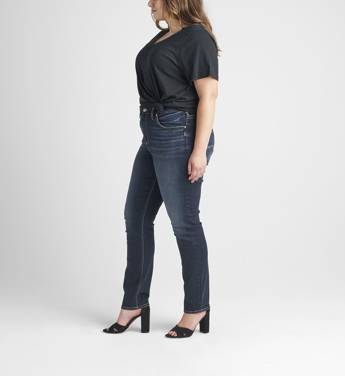Avery High Rise Straight Leg Jeans Plus Size Side