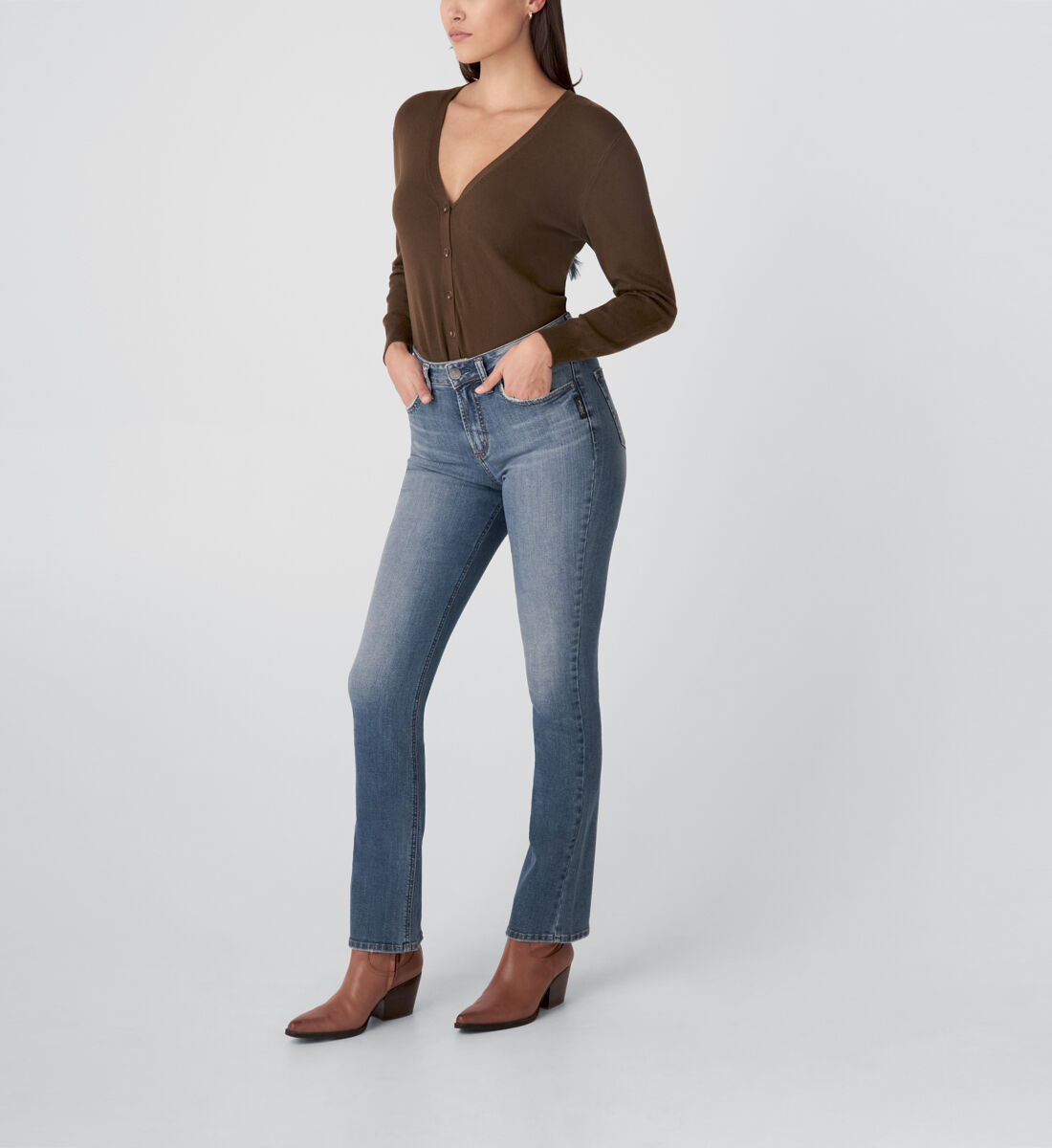Avery High Rise Slim Bootcut Jeans Side