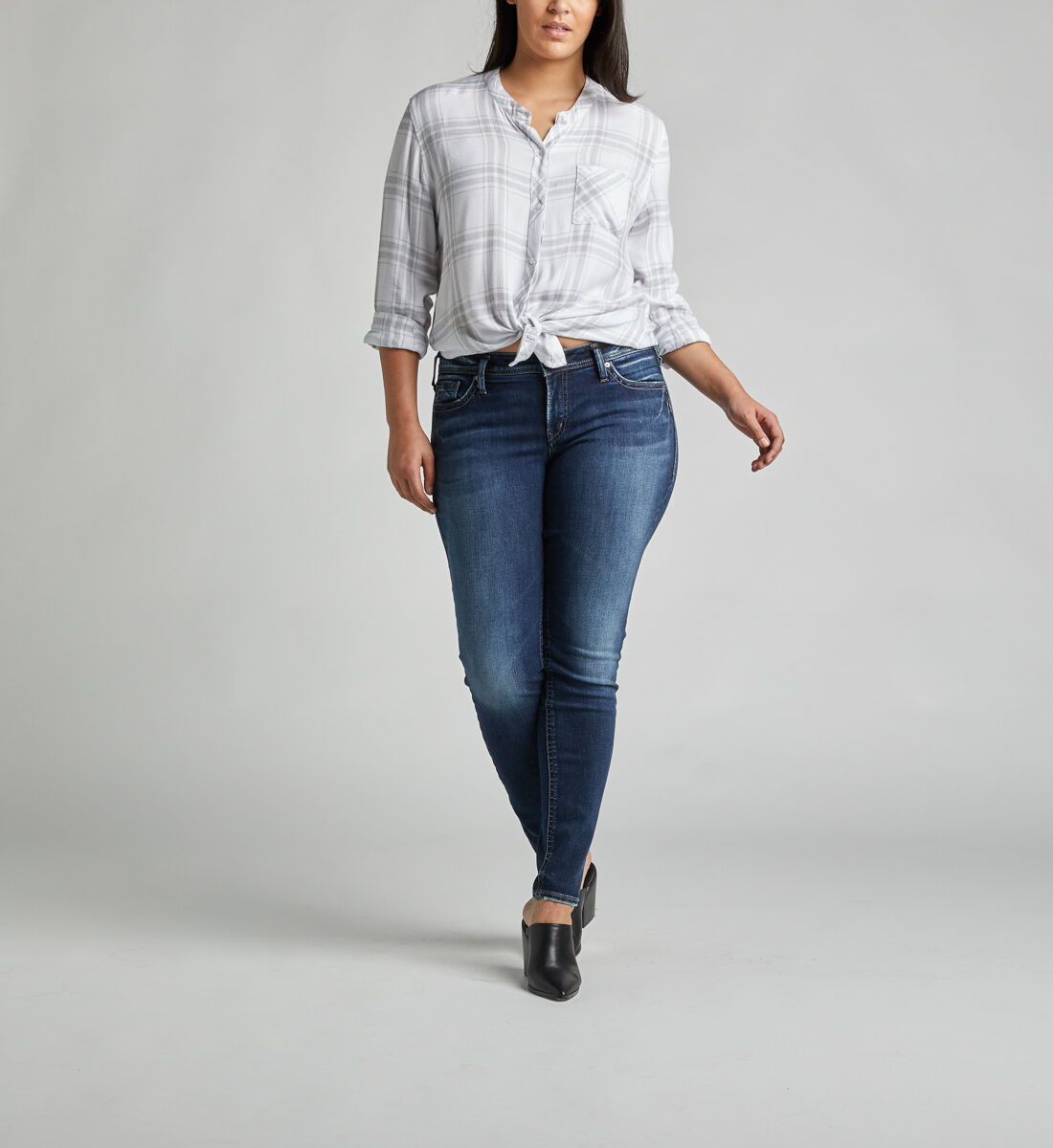 Suki Mid Rise Super Skinny Jeans Plus Size Front