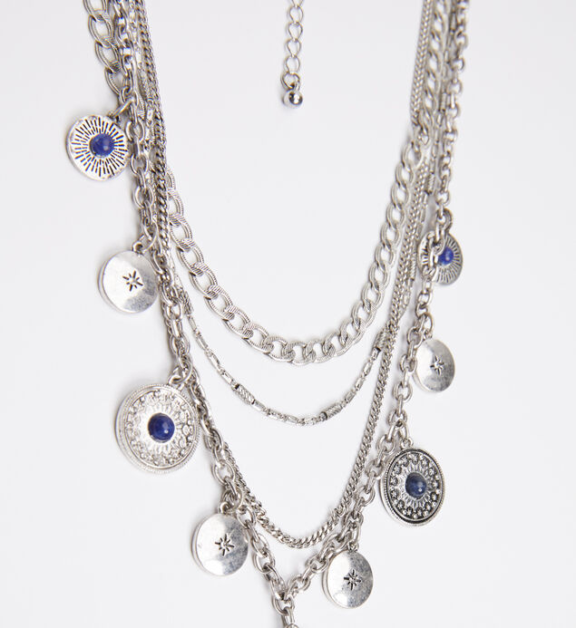 Silver-Tone and Blue Layered Pendant Necklace, , hi-res